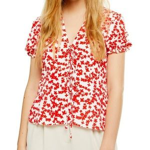 Topshop Floral Print tie front top red white 8